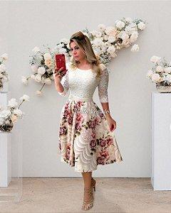 Vestido Casamento Civil Godê Floral Manga 3/4