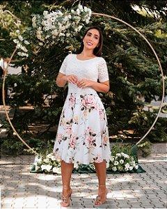 Vestido Casamento Civil Godê Branco Manga Curta