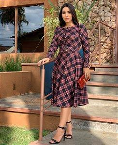 Vestido Moda Evangélica Marrom Xadrez