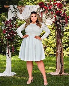 Vestido Casamento Civil Plus Size Branco Manga Longa