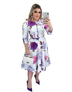 Vestido Moda Evangélica Floral com Bolso e Cinto Flores Lilás