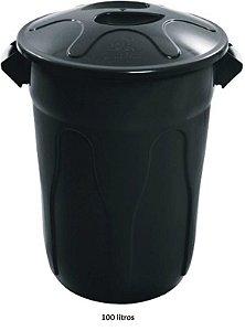 Cesto Plástico Redondo - Com Tampa - Tipo Balde - 100 Litros - Varias Cores