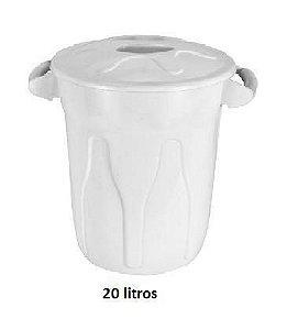 Cesto Plástico Redondo - Com Tampa - Tipo Balde - 20 Litros - Varias Cores