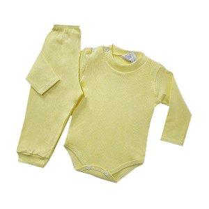 Conjunto de Body Ribana Canelada - Amarelo