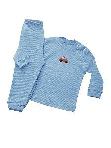 Pijama Canelado  Azul com Patch