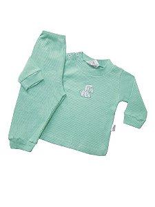 Pijama Canelado  Verde com Patch Variados