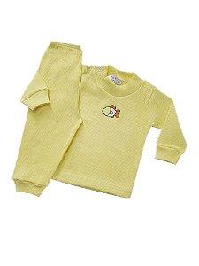 Pijama Canelado  Amarelo com Patch