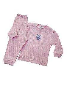 Pijama Canelado  Rosa com Patch
