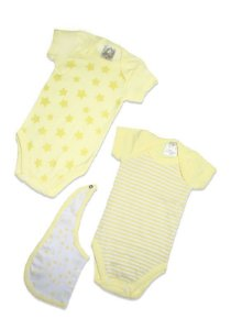 Kit 2 Bodies com babador Amarelo