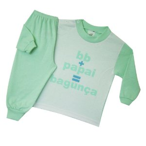 Pijama Manga Longa Frase - Bagunça - Verde