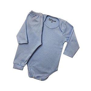 Conjunto Body com Calça Culote Cor Azul Bebê