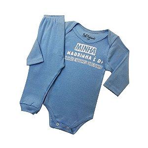 Conjunto Body com Calça Culote Cor Azul - Frases Madrinha É D+