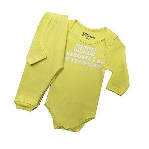 Conjunto Body com Calça Culote Cor Amarelo - Frases Madrinha D+