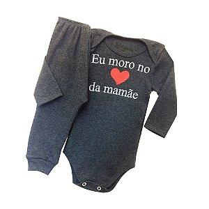 Conjunto Body com Calça Culote Cor Mescla-Frase Coração da Mamãe