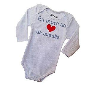 Body Avulso Cor Branco Frase-Eu Moro no Coração da Mamãe