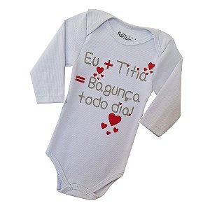 Body Avulso Cor Branco Frase-Eu+Titia