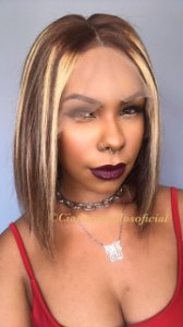 Peruca lace front cabelo humano Chanel mechas