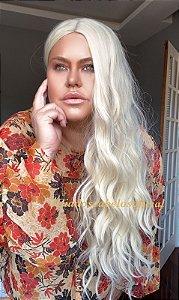 Peruca fibra premium Silk top Rachel loiro platinado claríssimo