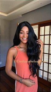 Peruca lace front  Fake scalp fibra premium Delia preta