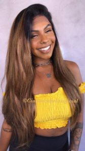 Peruca lace front cabelo humano ombre caramelo  LH17