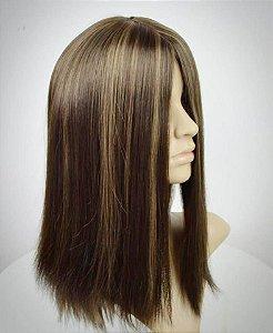 Peruca kosher cabelo humano customizada mechada