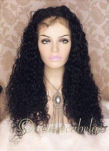 Peruca lace front cabelo humano cacheada 65 cm- COD 107