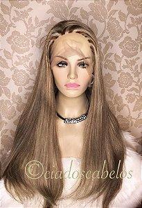 Peruca full lace silk top kosher cabelo humano mongoliano- COD581