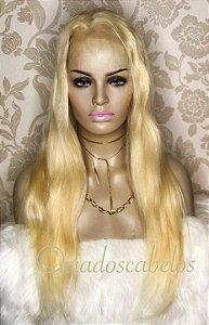 Peruca lace front cabelo humano loiro clarissimo- COD 118