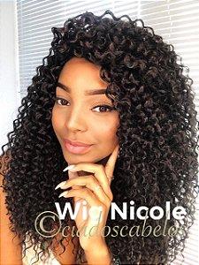 Peruca fibra futura cacheada Nicole preta