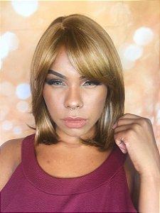 Peruca sintética lisa franja loiro mechado wig 079