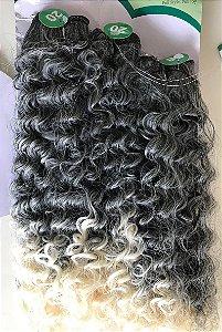 Pacote cabelo orgânico ombré loiro e cinza