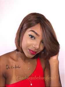 Peruca luxo cabelo humano brasileiro Clara 309 loiro escuro