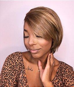 Peruca luxo cabelo humano brasileiro Drica 308 castanho acobreado