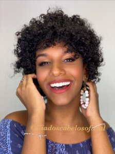 Peruca cabelo humano afro Siena