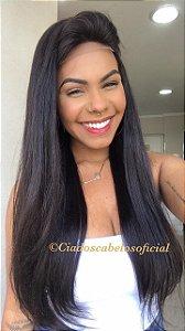 M Peruca cabelo humano fake scalp couro cabeludo perfeito 70 cm