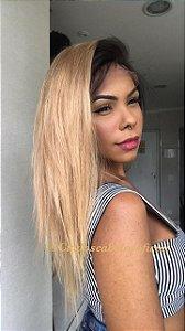 Peruca lace front cabelo humano ombre dourado  talis