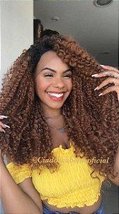Peruca lace front fibra futura Loren Afro  ombre