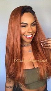 Peruca half wig cabelo humano ombre ruiva