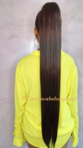 Rabo de cavalo Bio fibra liso 80 cm castanho