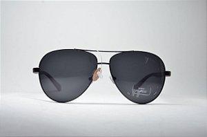 Óculos de sol masculino redondo grande metal fino aviador preto lente  espelhada polarizada e proteção UV400 93f182bc98