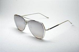 f9281f30880f1 Óculos de sol feminino dourado grande redondo fino metal proteção UV400  lente espelhada moda feminina