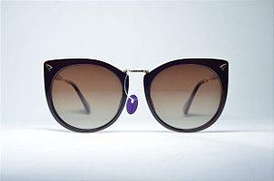 3ce760ffc8720 Óculos de sol feminino preto e dourado gatinho retro redondo metal proteção  UV400 lente espelhada moda