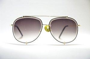 Óculos de sol feminino dourado redondo grande metal lente espelhada preta e proteção  UV400 moda feminina 1426f53c47