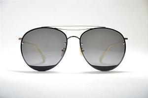 Óculos de sol feminino dourado grande redondo metal proteção UV400 lente  preta espelhada moda Phantom 26eeef9467