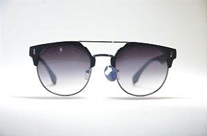 9a95394e7a23e Óculos de sol feminino redondo metal fino textura preta lente espelhada  preta proteção UV400 moda Feminina