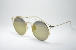 e6906411c725e Óculos de sol feminino dourado corujinha metal redondo grande lente  espelhada proteção UV400 - S1988