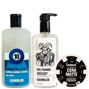 Kit Styling Shampoo Bola 10, Gel Fixador e Cera 65g
