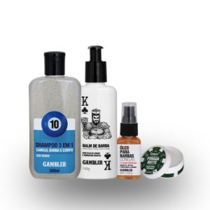 Kit Estilo Barba Longa (Shampoo, Balm, Óleo e Pomada) - GRÁTIS NECESSAIRE