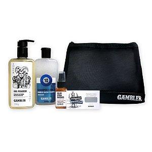 Kit Shampoo Bola 10, Óleo Barbas Curtas, Gel Fixador + Necessaire