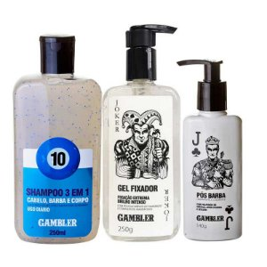 Kit Shampoo Bola 10 250ml + Gel Fixador 250g + Pós Barba 140g